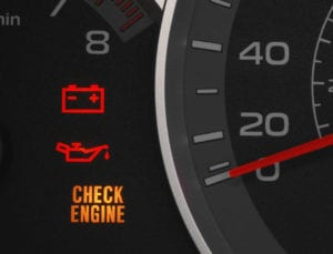 Engine Dashboard With Warning Light On