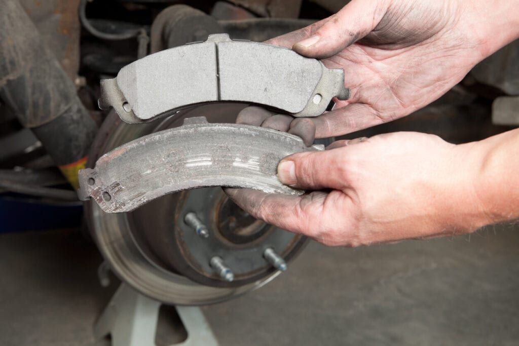 Cracked Brake Pad compared to new brake pad