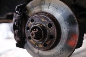 rusty front brake of car